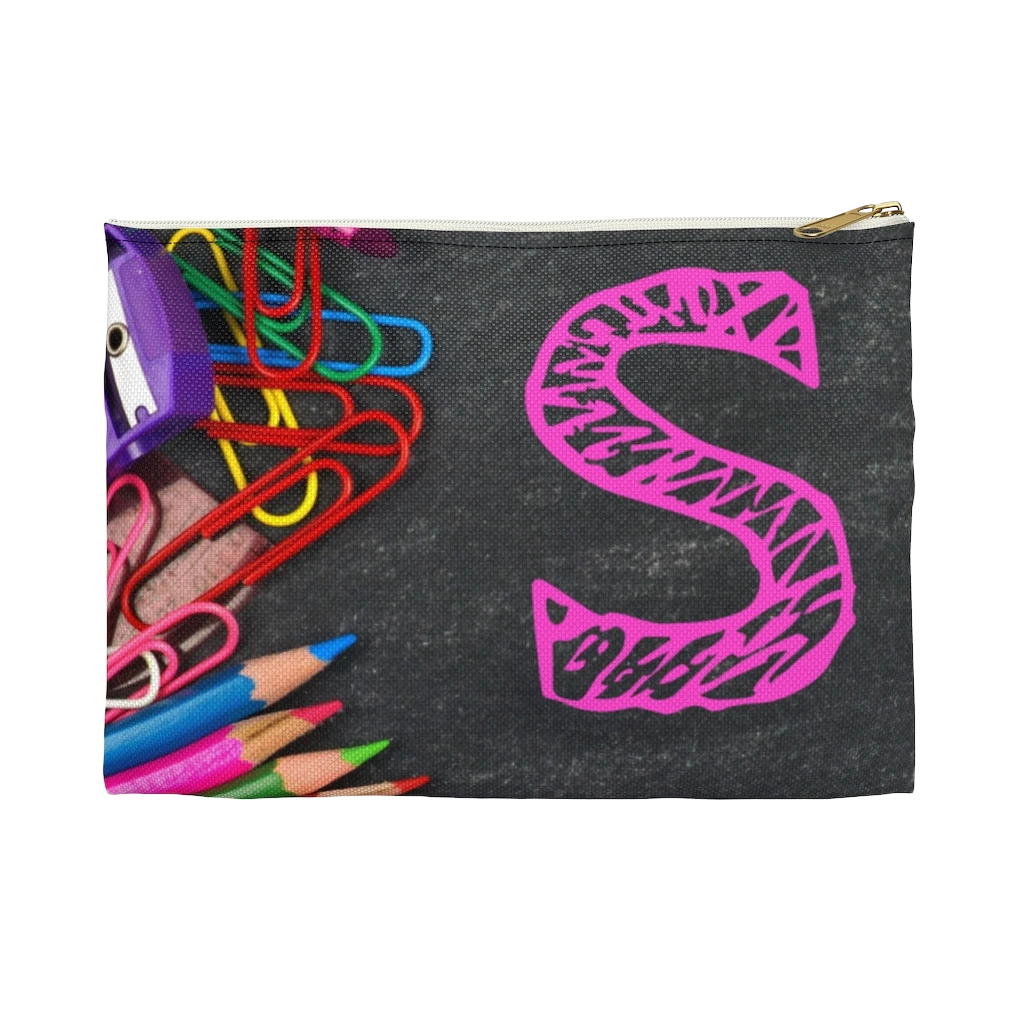 Grey Pencil Case with Pink Initial - NAMEBITZ