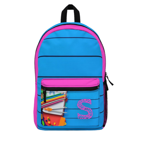 Blue Backpack with Pink Initial