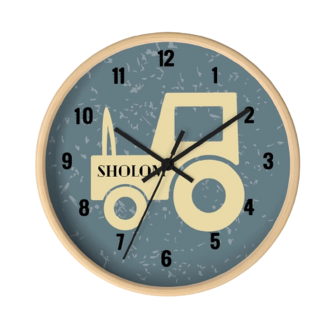 Tractor Wall Clock in Grey/Black