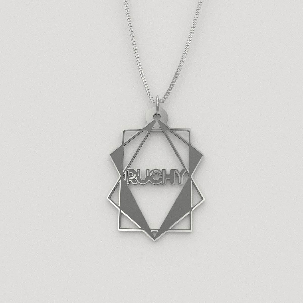 polyhedron geometric Necklace – English, Silver