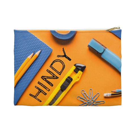 Blue and Orange Pencil Case with Accessories Print (See Coordinating Backpack)