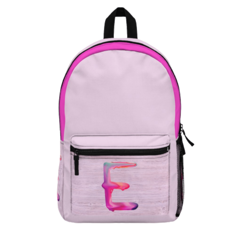 Pink Backpack with Paint Initial