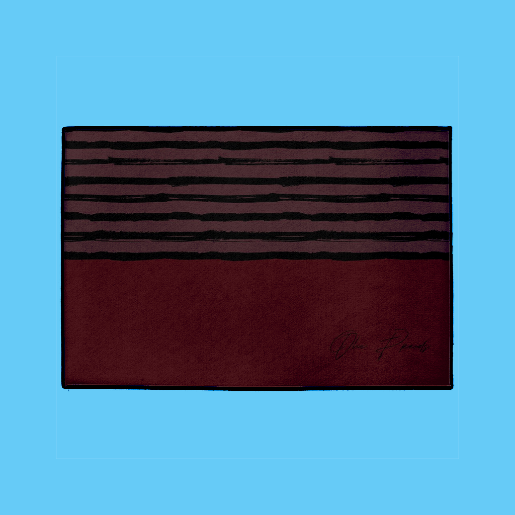 Striped Welcome Mat in Burgundy