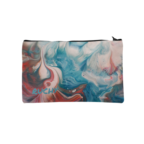 Blue and Pink Marble Pencil Case