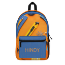 Blue and Orange Backpack with Accessories Print