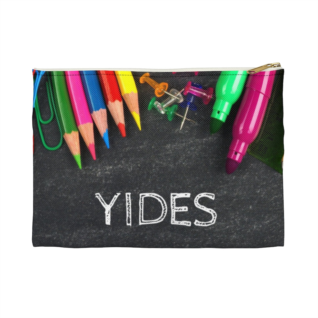 Grey Pencil Case with Chalk Letters, Vertical Print