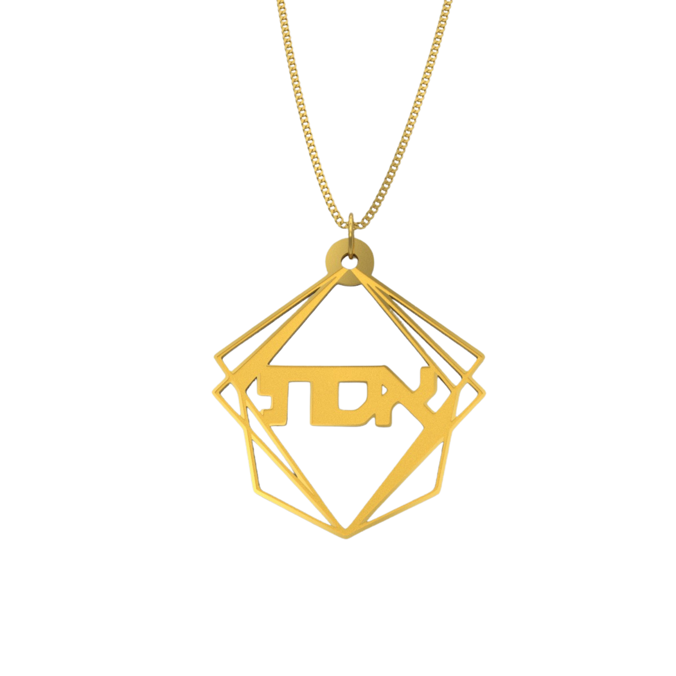 Geometric Pyramid Shape Necklace – Hebrew, Gold Plated