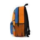 Blue and Orange Backpack with Accessories Print - NAMEBITZ