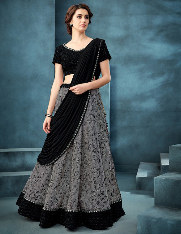 Classic and Stylish Black and Grey Lehenga