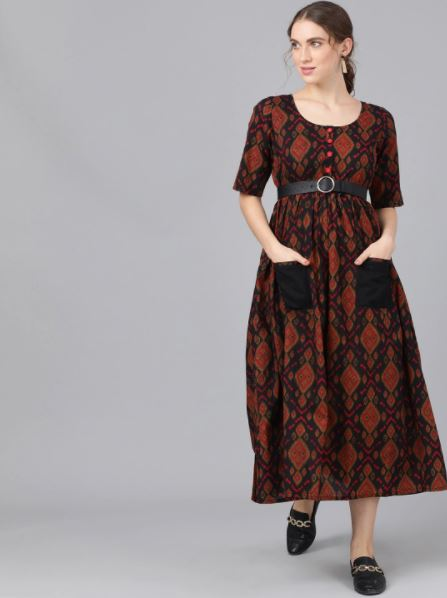Black and Red printed A-Line Dress