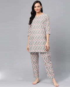 White and Red Printed Cotton night suit