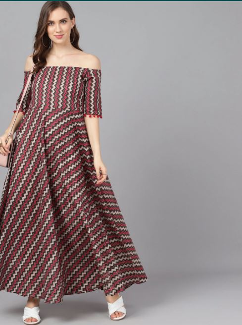 Beautiful Brown printed Maxi Dress