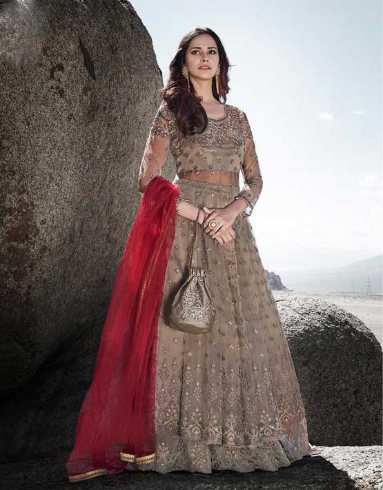 Beautiful Beige Colour Designer Lehenga