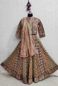Beautiful Brown Bagru Printed Lehenga