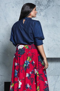 Red floral Skirt with blue Crop Top