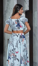 Load image into Gallery viewer, Sky Blue printed Skirt with printed Top
