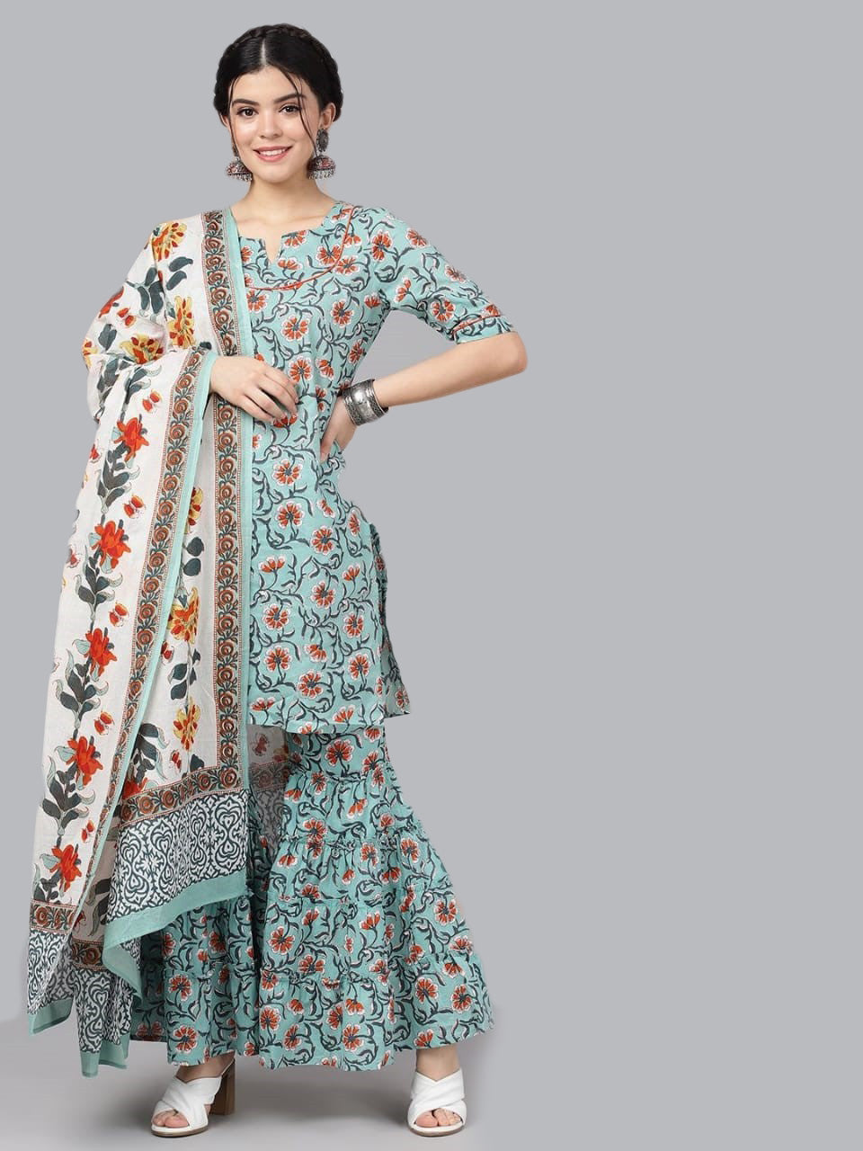 Pastel blue & Orange printed kurta set with dupatta
