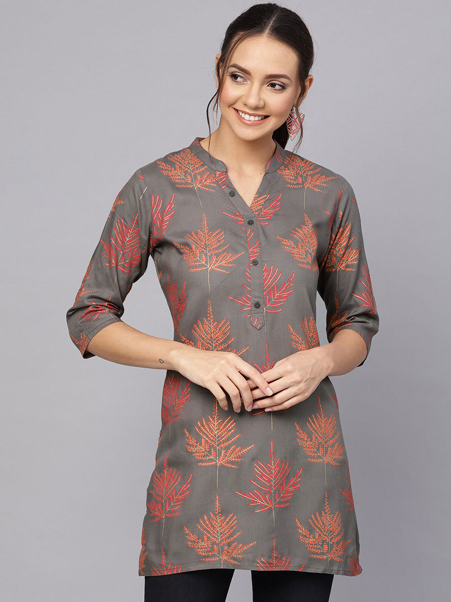 Charcoal Grey Printed Kurti