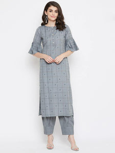 Beautiful Light Grey Kurta set