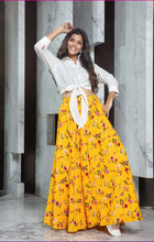Load image into Gallery viewer, Yellow floral printed Long Skirt with Crop Top