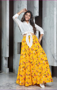 Yellow floral printed Long Skirt with Crop Top