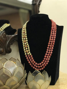 3 Layered Pink with golden Pearl Neckpiece