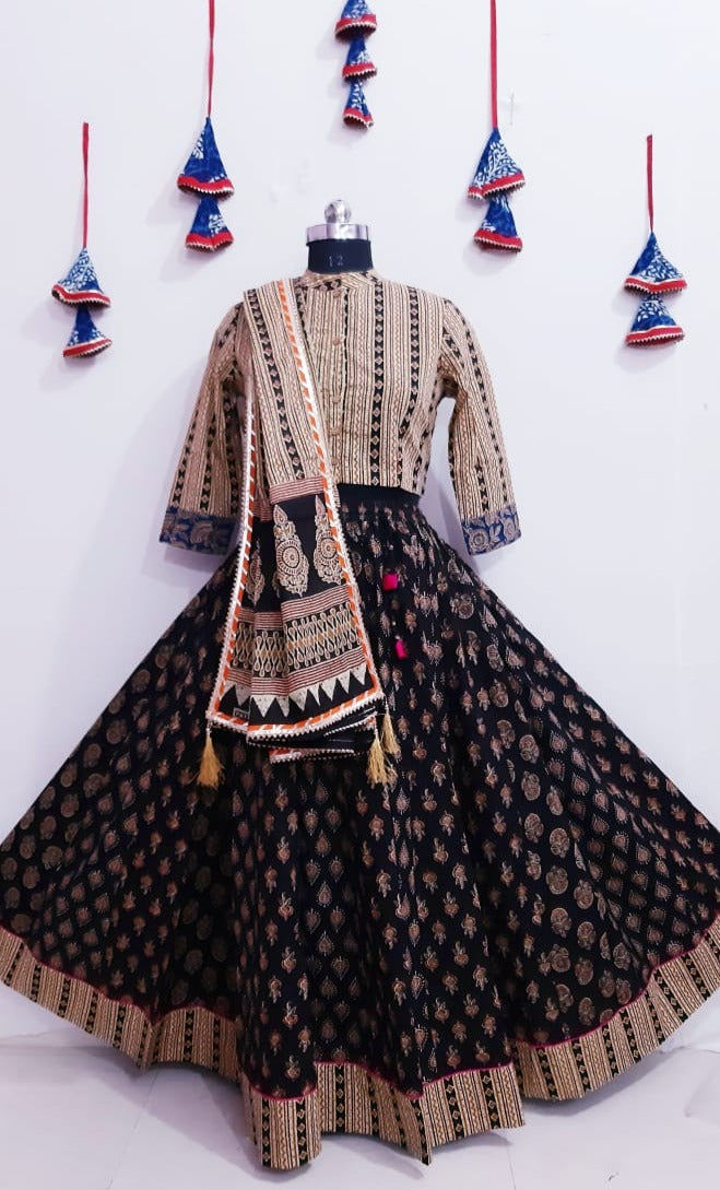 Beige with black cotton bagru print top and skirt