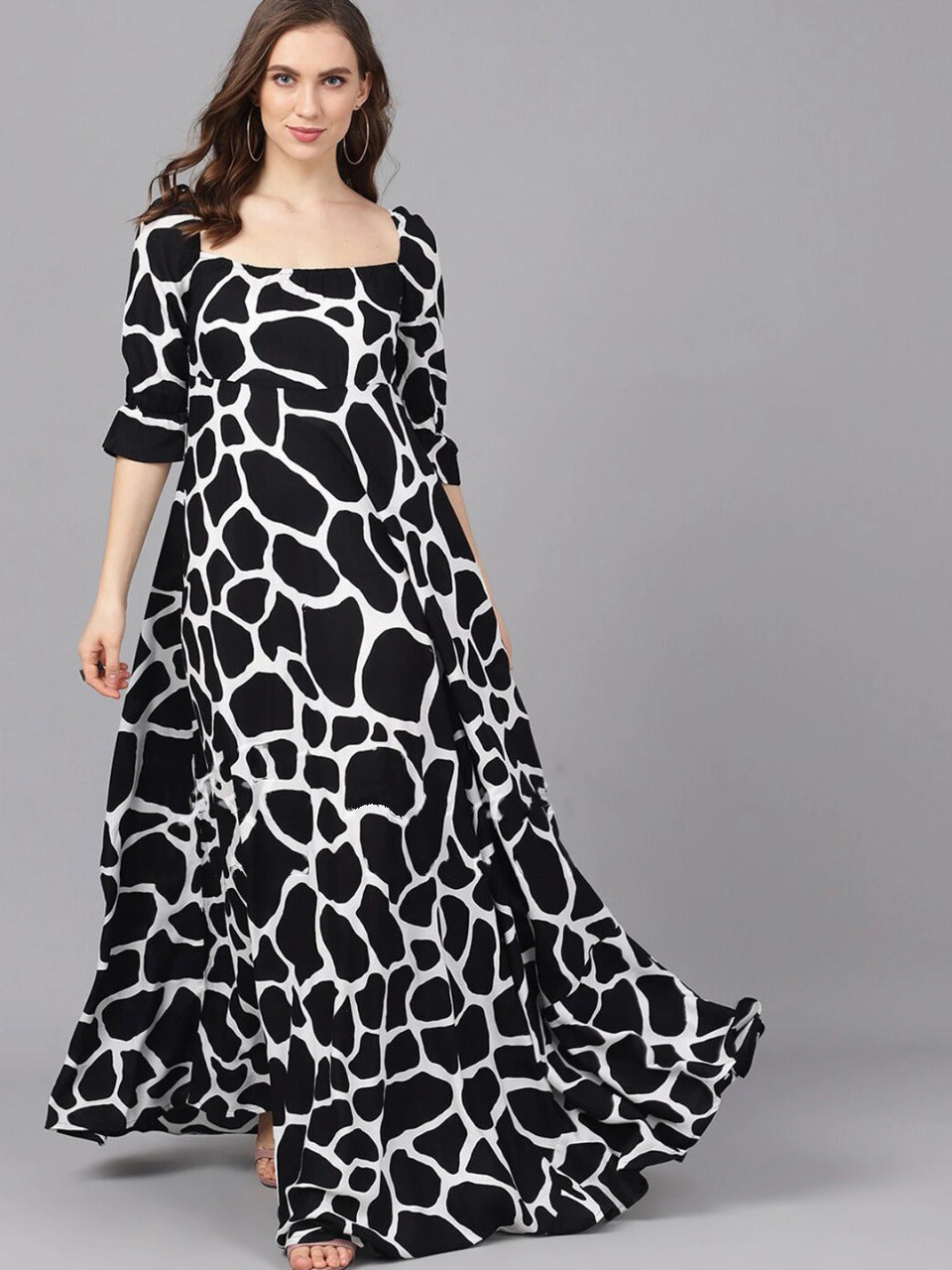 Beautiful Black and White Maxi Dress