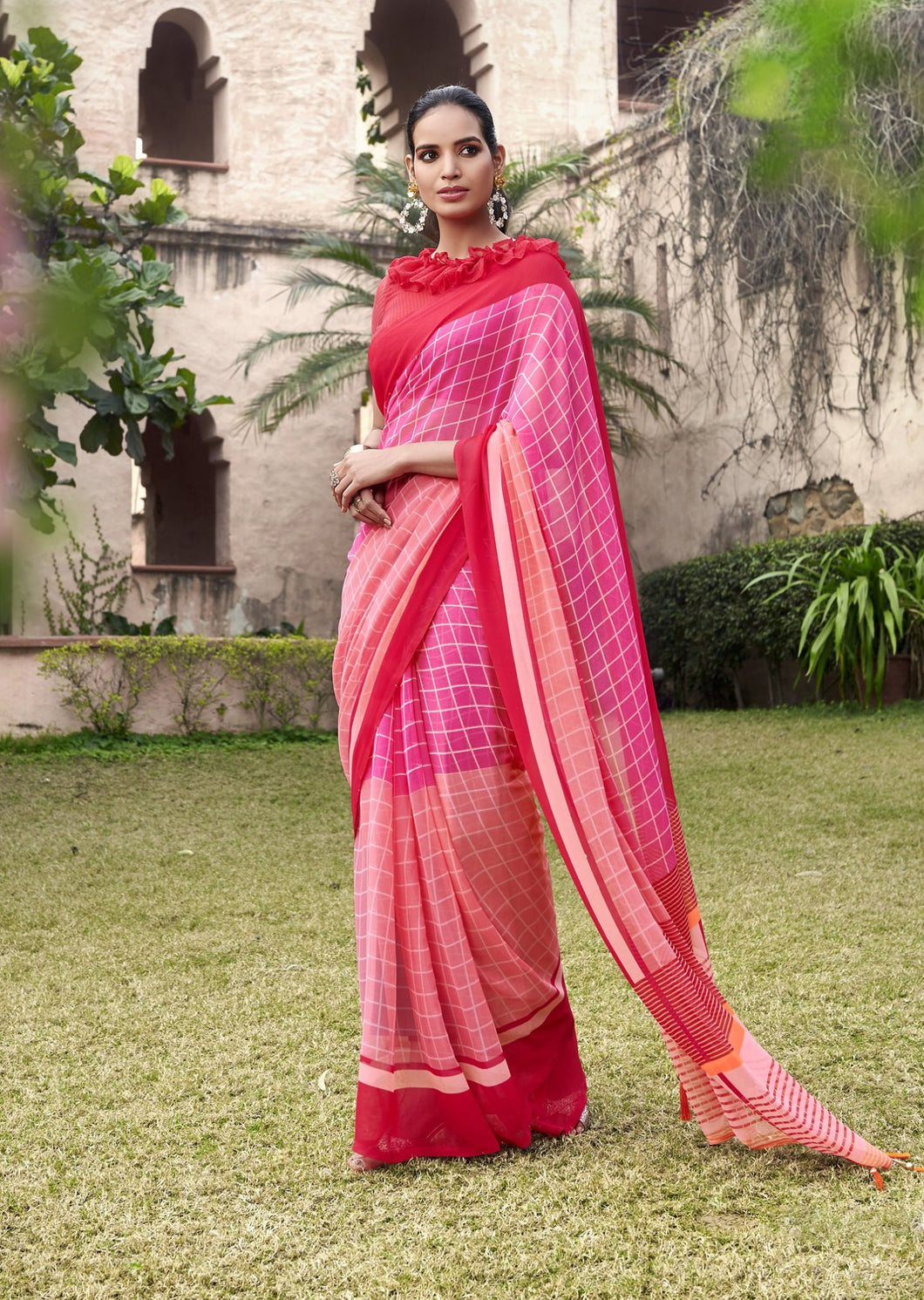 Printed Red Georgette Saree