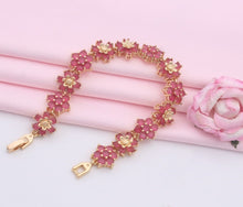 Load image into Gallery viewer, Pink and Gold Flower Design  Bracelet