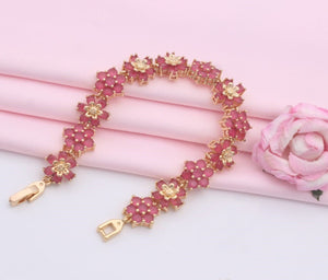 Pink and Gold Flower Design  Bracelet