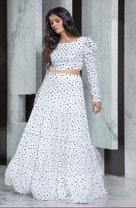 Gorgeous White flared Skirt with Top