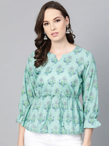 Blue & green printed cinched waist top