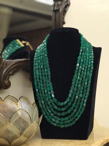Green Beaded multilayered Neckpiece