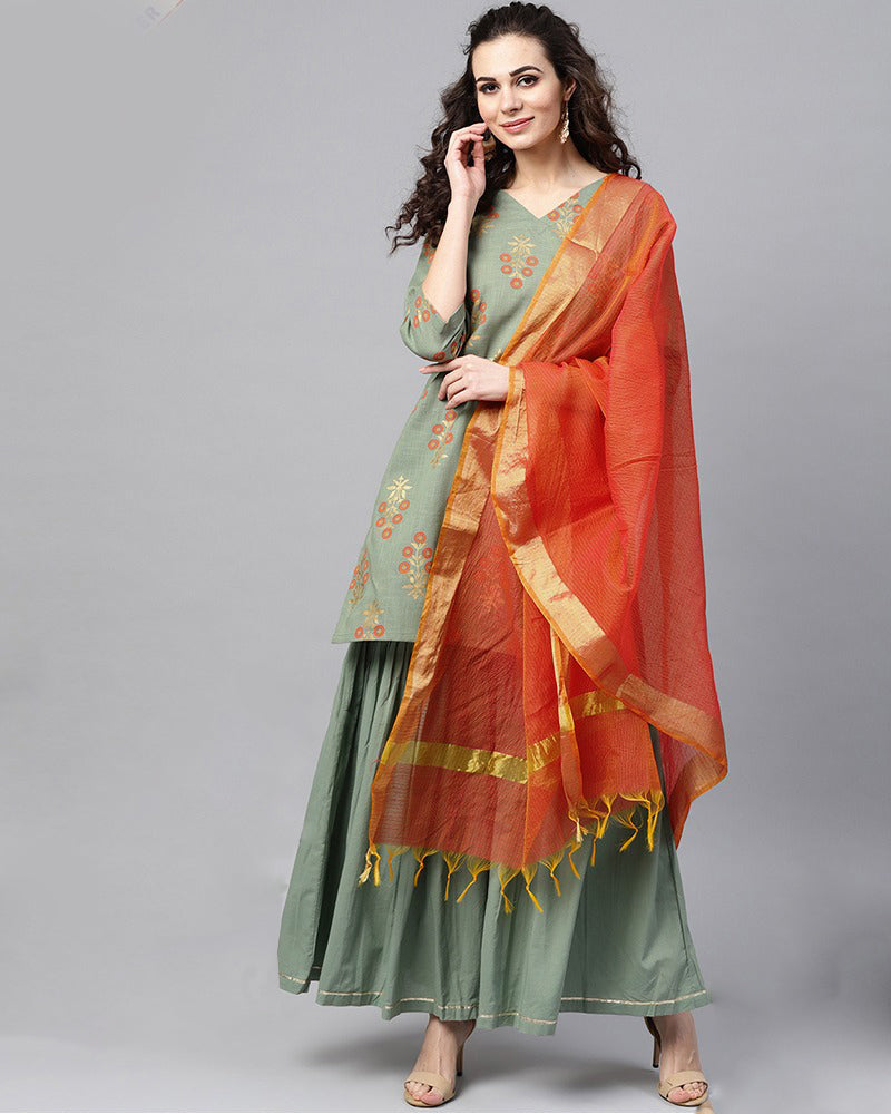 Grey and Orange Sharara
