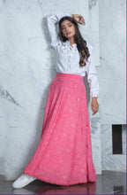 Load image into Gallery viewer, Pink foil printed Skirt with crop Top