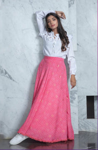 Pink foil printed Skirt with crop Top