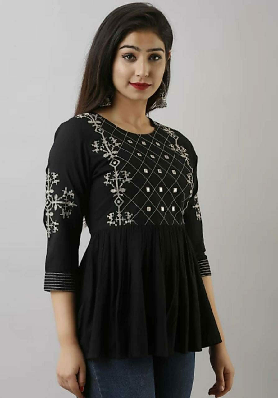 Black casual short top with embroidery work