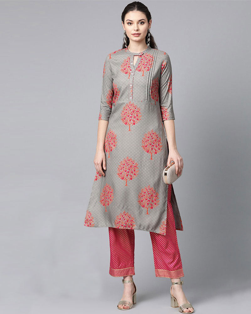Light Grey Printed Kurta with Palazzo