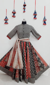 Red with b&w cotton top and skirt with dupatta