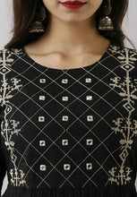 Load image into Gallery viewer, Black casual short top with embroidery work