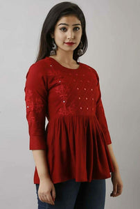 Red casual short top with embroidery work