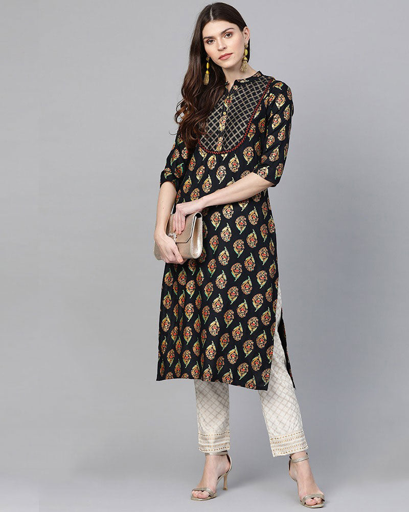 Black Foil Printed Kurta set