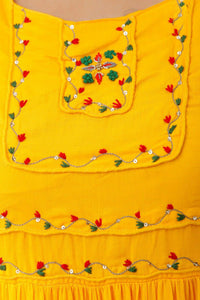 Pretty Yellow Mulmul fabric Anarkali