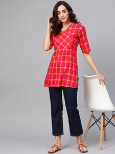 Bright red Checked Kurti