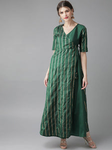 Rich Green Wrap maxi dress