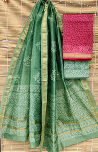 Pink with green Silk salwar material