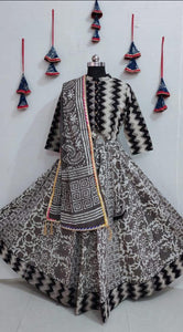 Beautiful Black Bagru Printed Lehenga