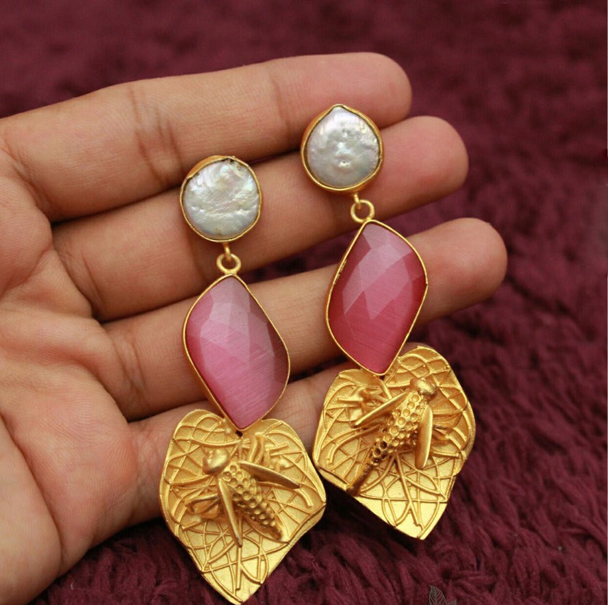 Stylish Pink stone earring