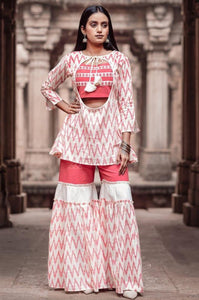 The Pink with white Sharara set